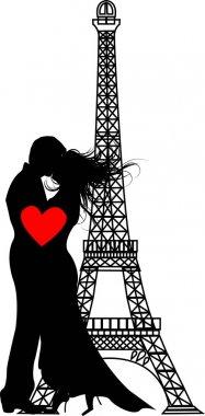 The vector romance paris Silhouette (eps file) clip art vector