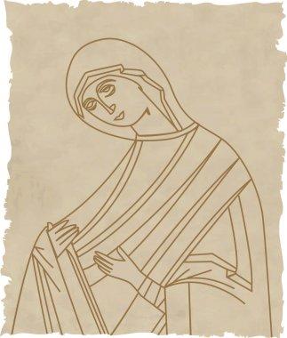 Vector illustration of Virgin Mary