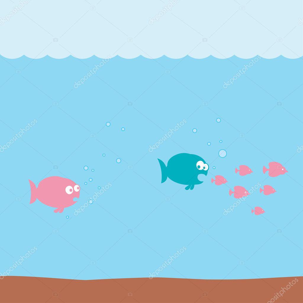 Cartone animato divertente pesci sott acqua — vettoriali