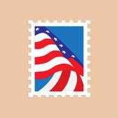 poštovní známka s americkou vlajkou