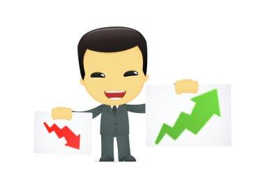 Funny cartoon asian businessman