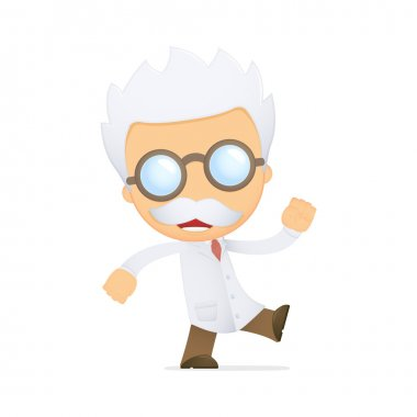 Funny cartoon scientist in various poses for use in advertising, presentations, brochures, blogs, documents and forms, etc. clip art vector
