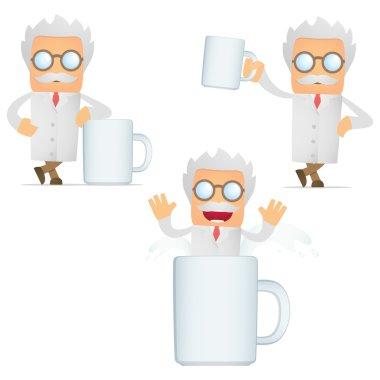 Set of funny cartoon scientist