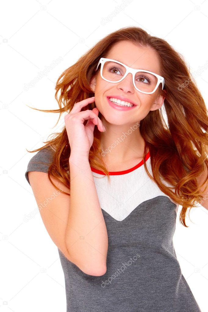 oficial de ventas calientes auténtico ventas al por mayor Portraif de mujer joven con gafas blancas — Fotos de Stock ...