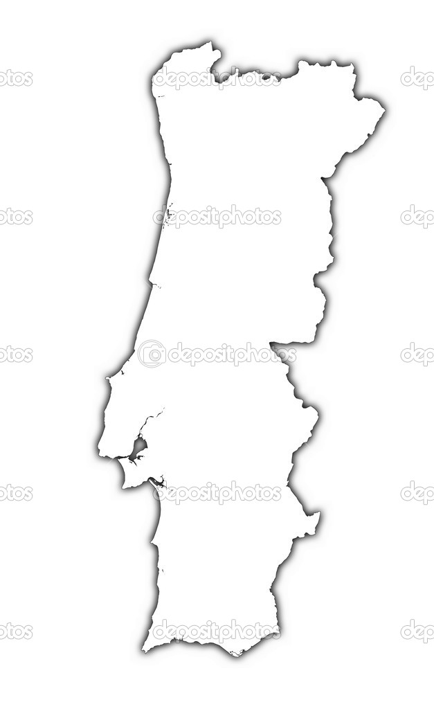 Portugal Outline Map With Shadow Stock Photo Skvoor - Portugal map outline