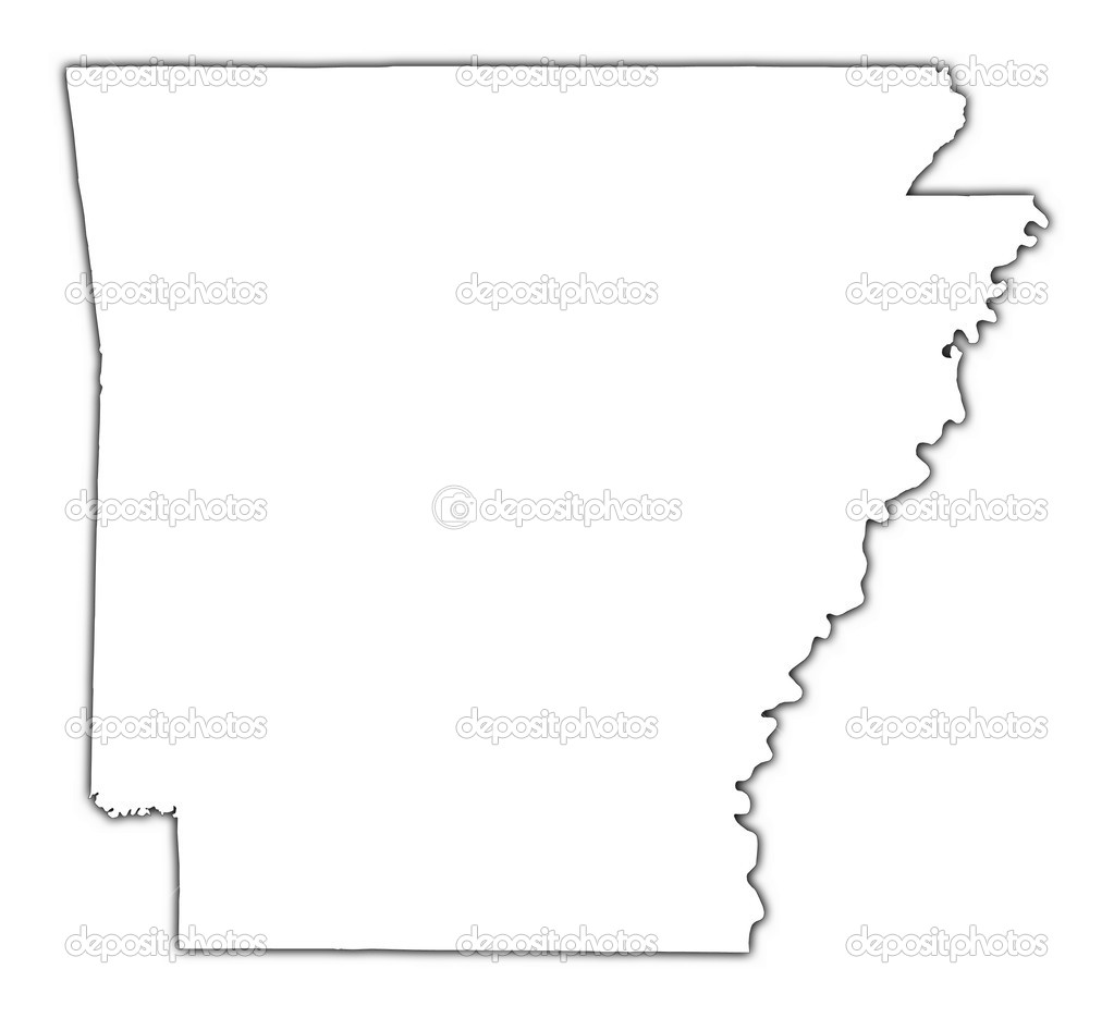ArkansasUSA Outline Map With Shadow Stock Photo Skvoor - Us map mercator