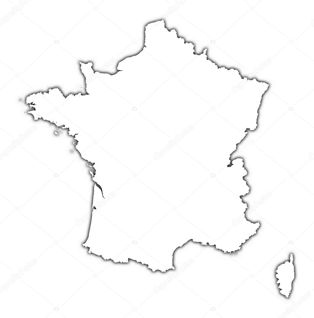 Outline Of Map Of France.France Outline Map With Shadow Stock Photo C Skvoor 9090258