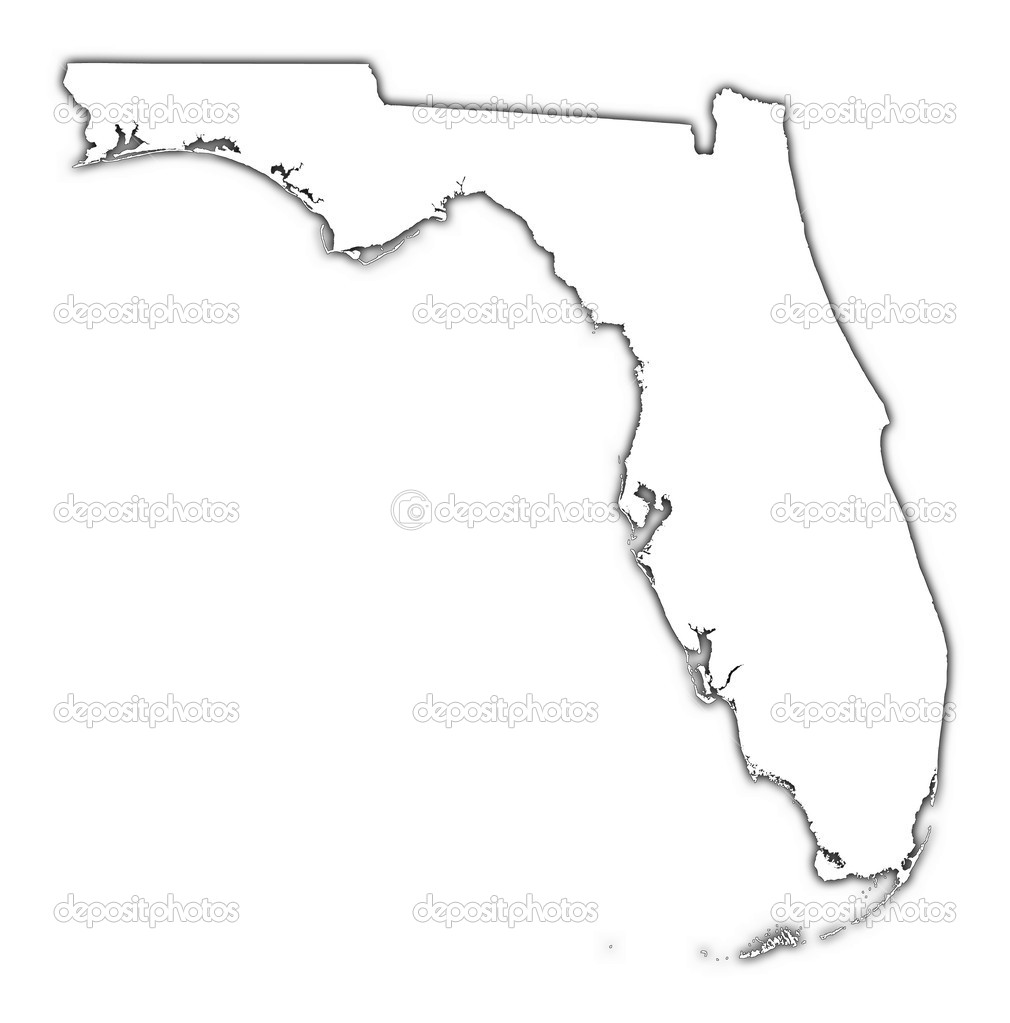 Florida USA Outline Map With Shadow  Stock Photo  Skvoor - Florida map usa