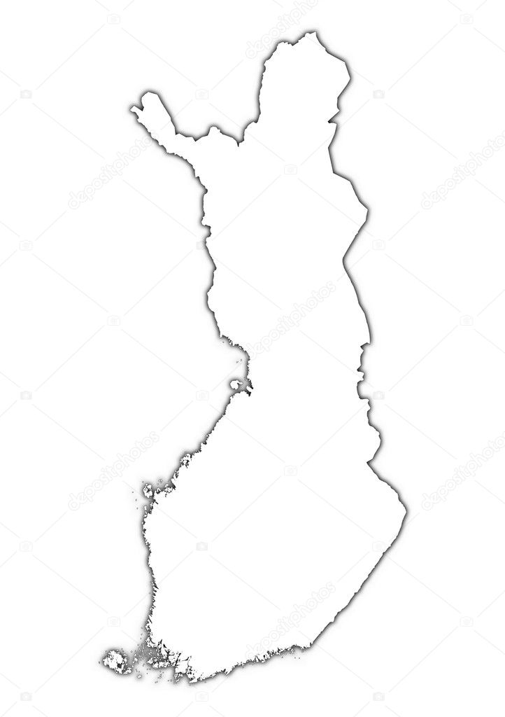 Finland outline map with shadow — Stock Photo © skvoor #9090296
