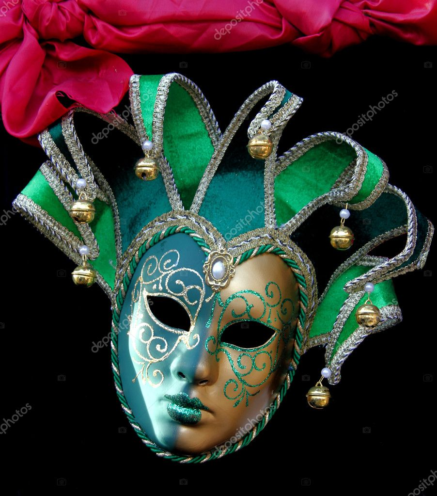 Green Carnival Jester mask with bells