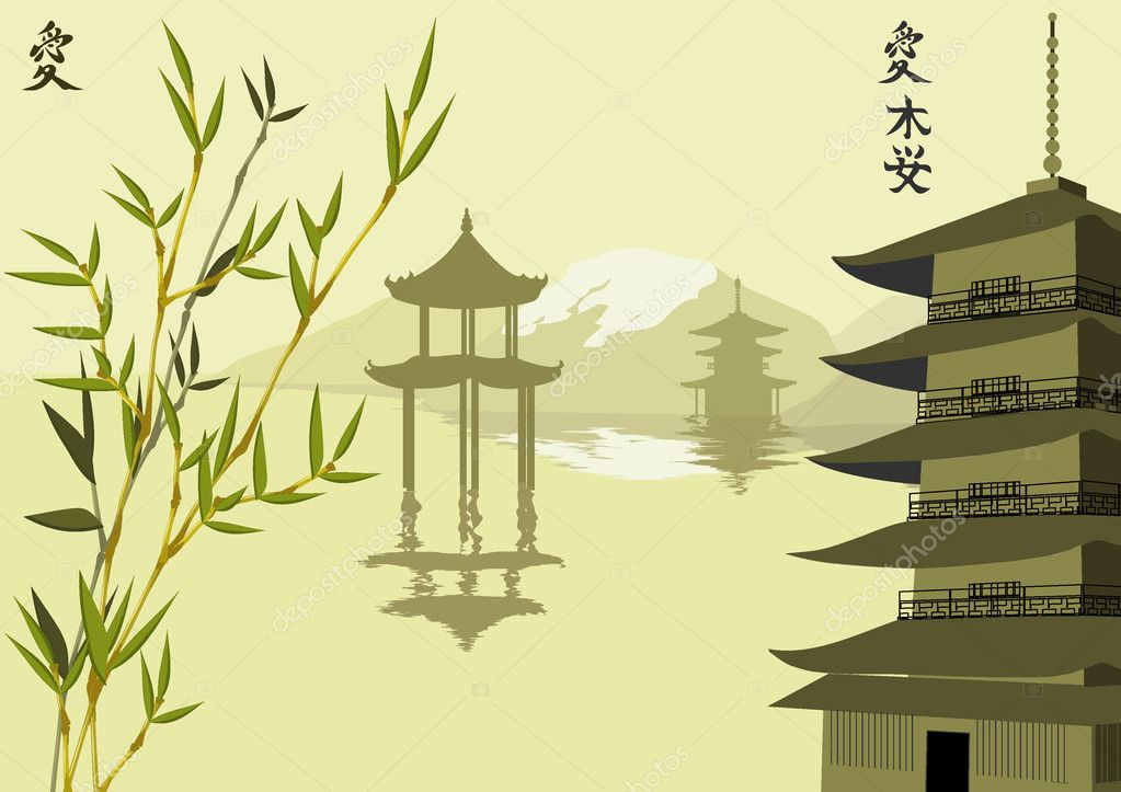 Vector illustration with pagodas