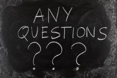 Any questions written on blackboard