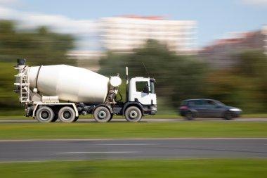 Cement mixer truck motion