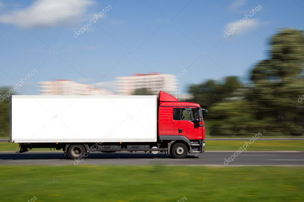 Panning image of truck with blank space for your advetisement