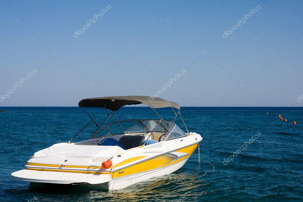 Motorboat in a sea