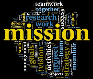 Mission and bussiness management concept in word tag cloud stock vector