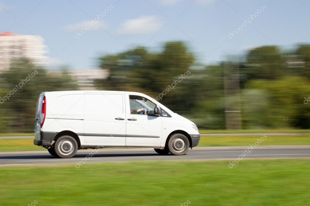 Space for advertisement on delivery truck in motion blur