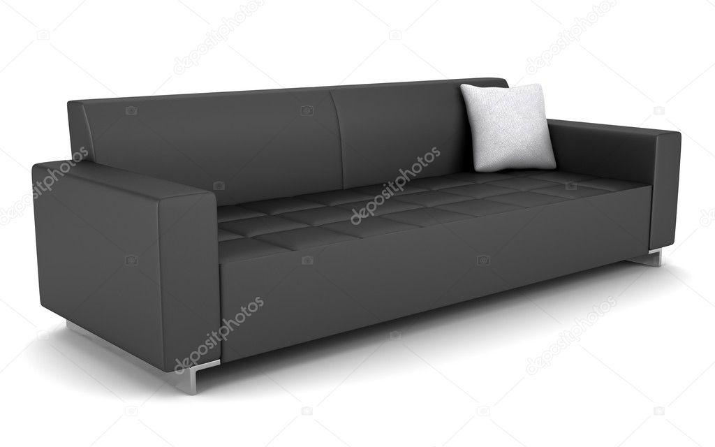 Divano Nero Moderno : Cuoio nero moderno divano isolato su sfondo bianco u foto stock