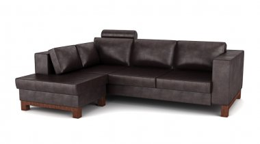 Modern brown leather couch isolated on white background