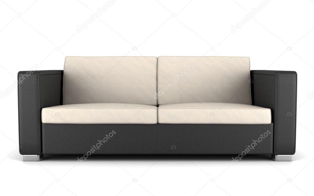 Divano Nero E Bianco : Moderno divano nero e beige isolato su sfondo bianco u foto stock