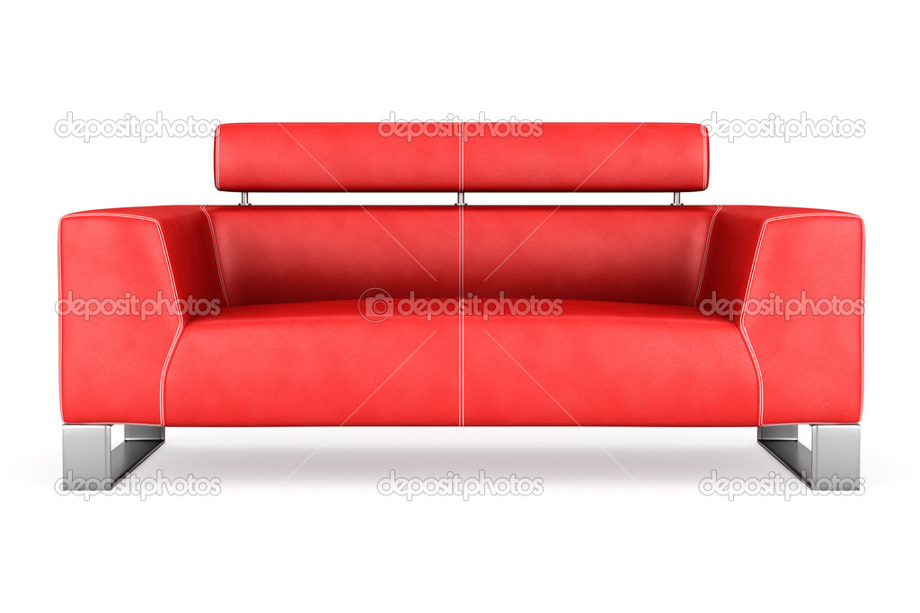 Modern red leather couch isolated on white background ...