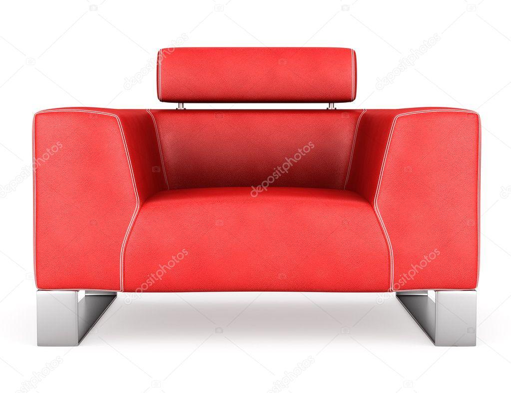 Rode Lederen Fauteuil.Moderne Rood Lederen Fauteuil Geisoleerd Op Witte Achtergrond