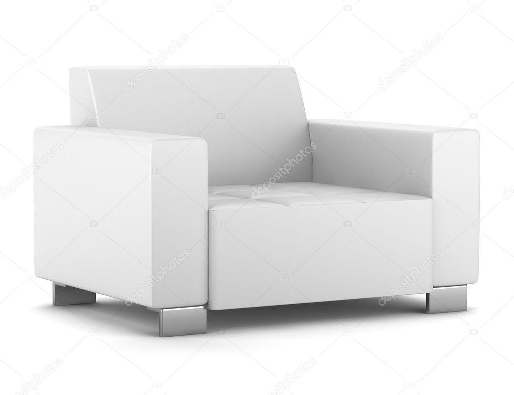 Moderne Lederen Fauteuil.Moderne Lederen Fauteuil Geisoleerd Op Witte Achtergrond