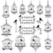 Fotografia illustrati gli uccelli in gabbie