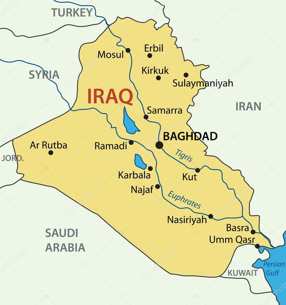 Republic Of Iraq Vector Map Stock Vector C Pavalena 10120314