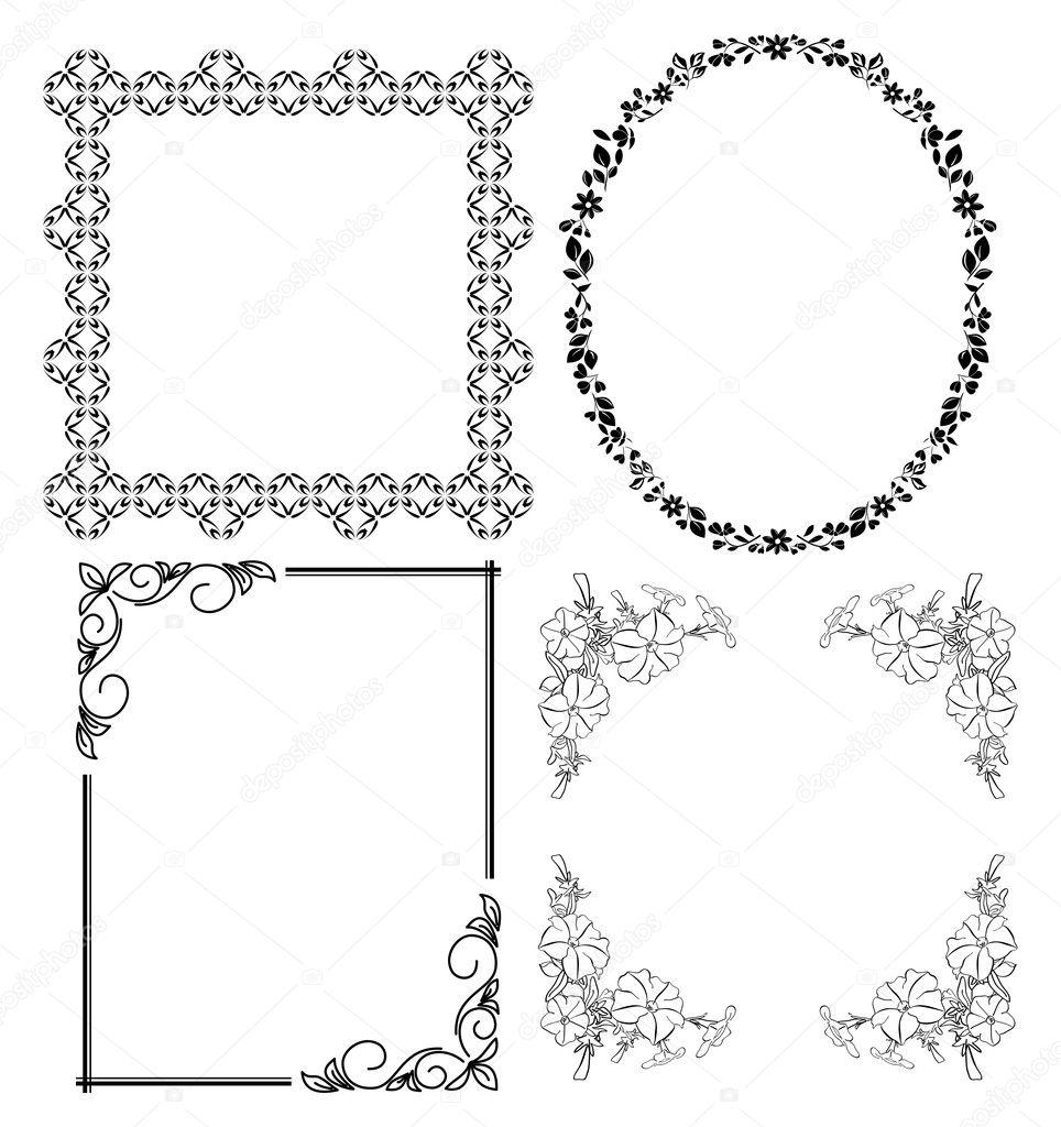 Marcos decorativos negros - conjunto de vectores — Archivo Imágenes ...