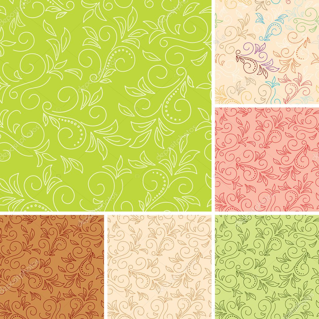 Seamless color patterns with flora - vector