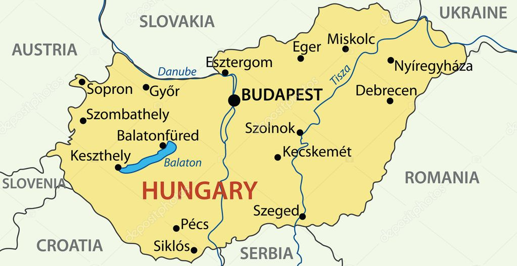 Hungary Vector Map Stock Vector C Pavalena 9066308