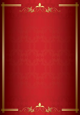 Red vector elegant card with gold decorations