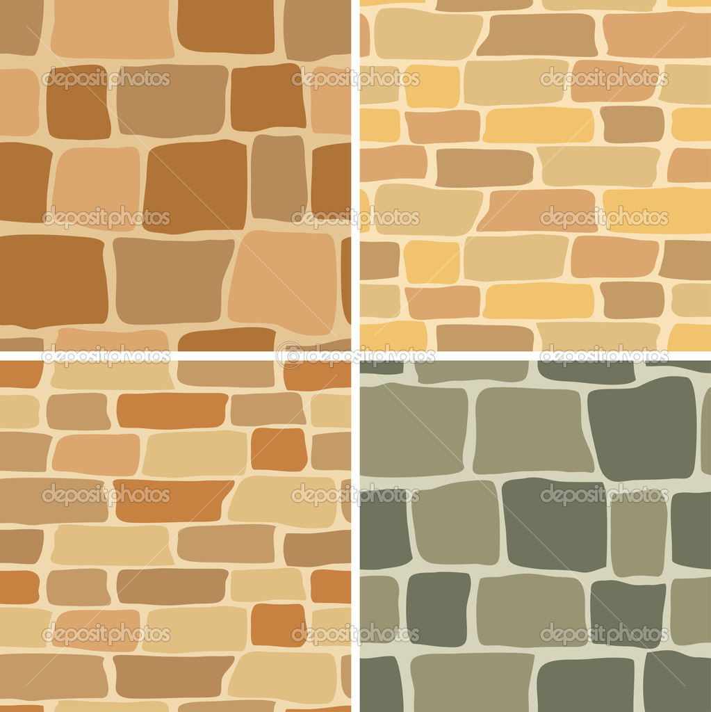 Set - vector stone wall - seamless patterns — Stock Vector ...