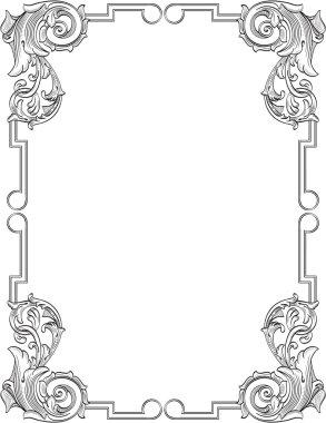 Vintage frame in engraving style