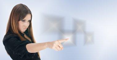 Businesswoman click on touchscreen button