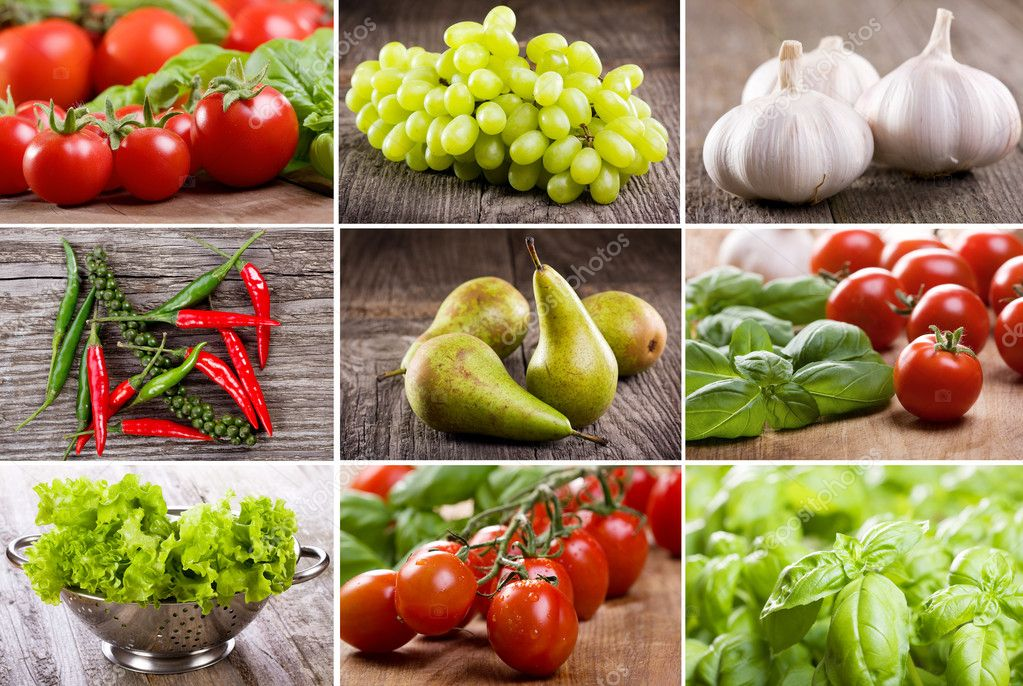 Collage with different fruits and vegetables