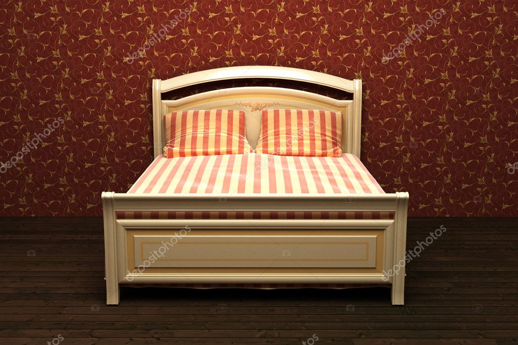 Wooden Bed In The Room Stock Photo C Yura Fx 8178852