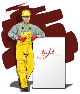 a man working in special protective clothing and helmet