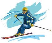 Fotografie Skifahren. High-Speed-Bewegung