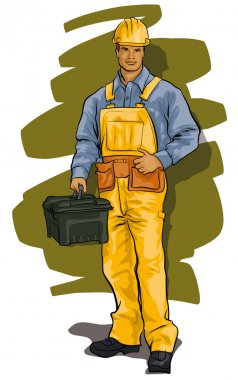 worker, a man in overalls, helmets and tools