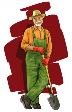 Good happy gardener with a spade in his hand