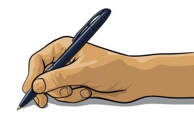 hand of a writing pen