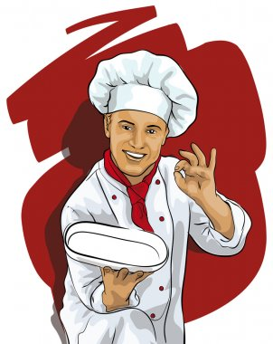 Chef with a blank plate