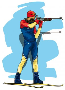 Biathlon. The athlete in the position for firing