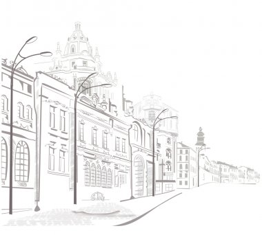 Sketches of streets in the old city stock vector
