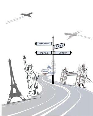 Set of world famous sights