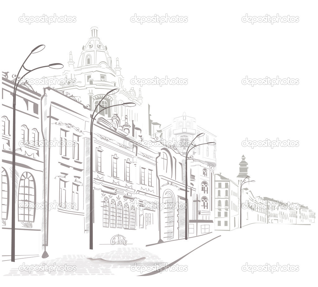 Sketches of streets in the old city