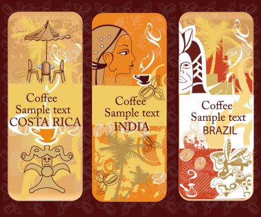 Set of coffee banners from Costa Rica, India, Brazil