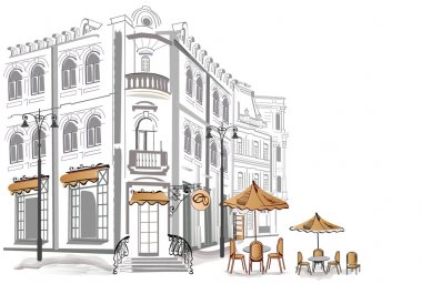 Series of old streets with cafes in sketches